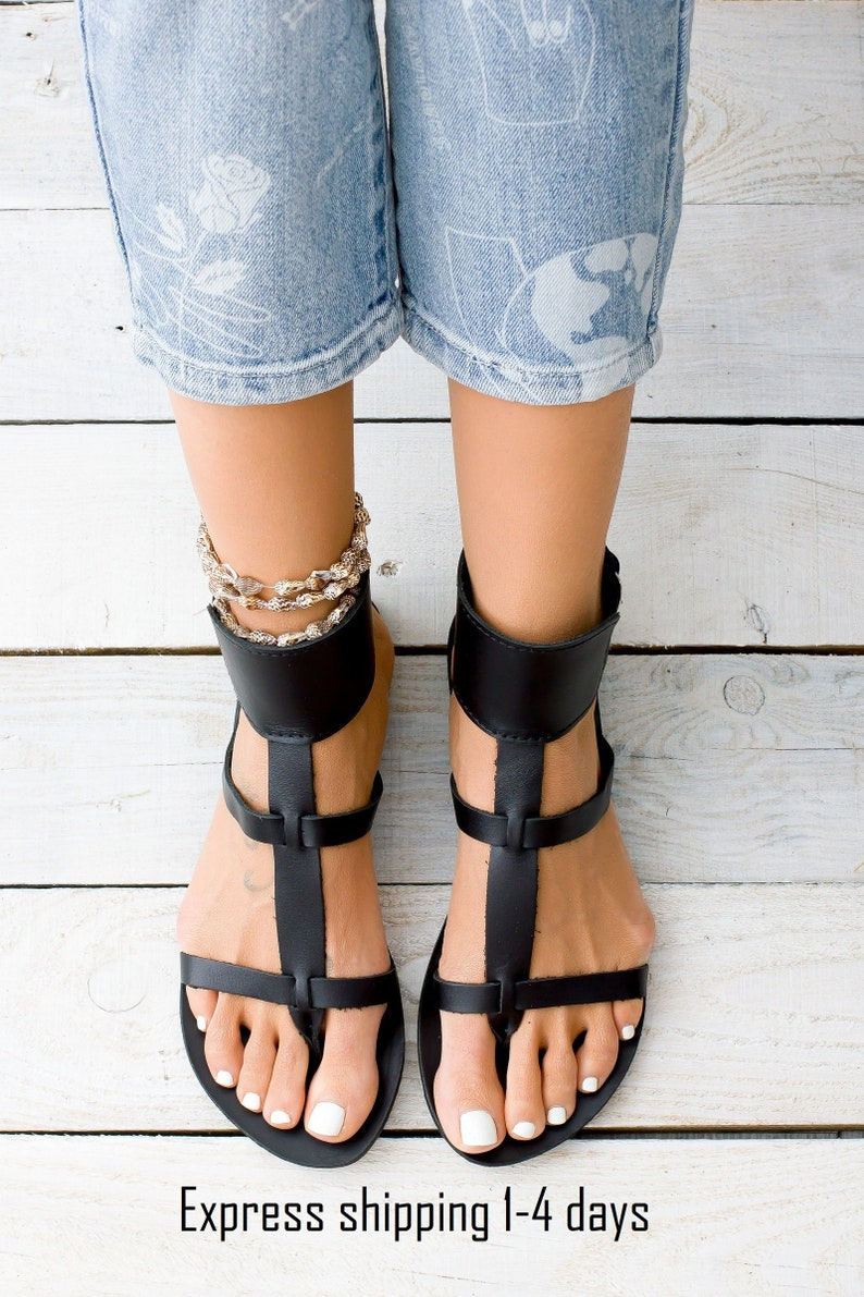 882f6598437 KASOS black leather women sandals from Greece gladiator