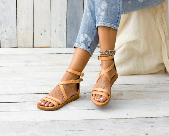 Sandals Leather Greece Greek SandalsWomen Ankle Strappy From ShoesWomens Chios Cuff gmI7ybf6Yv