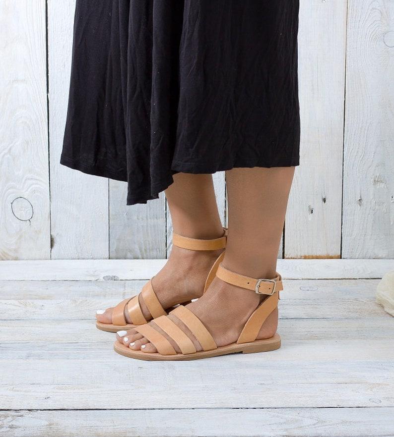 ANAFI Greek leather sandals flat sandals summer shoes leather sandals Greek gladiator sandals