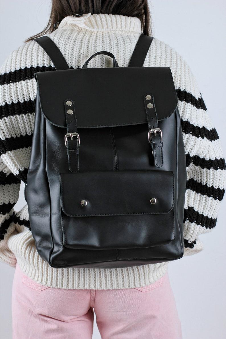 Black Leather backpack Gift Black Rucksack Womens backpack Laptop backpack Womens laptop backpack Greek Leather bag Leather Rucksack