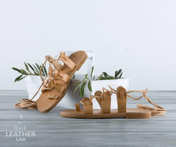 ATHENA Leather sandals, Natural color Greek gladiator sandals, Toe ring sandals, lace up sandals,women sandals, women shoes