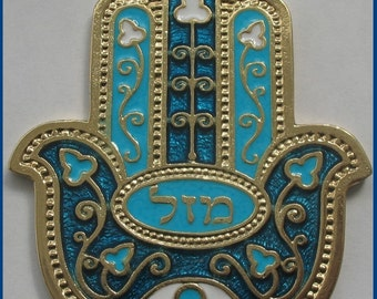 Cyan / red  little HAMSA charm from Israel for evil eye protection and luck kabbalah