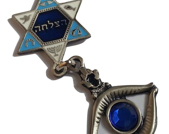 """7 blessing color 16""""/40cm big pewter chain with Star of David & evil eye protection from Israel  FREE SHIPPING"""