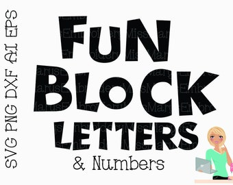 Block Font Svg Etsy