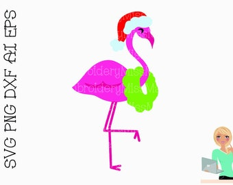 christmas flamingo svg christmas svg flamingo svg cutting file commercial personal use