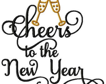4x4, 5x7, 6x10 Cheers to the New Year Design Star Saying Instant Download Embroidery File