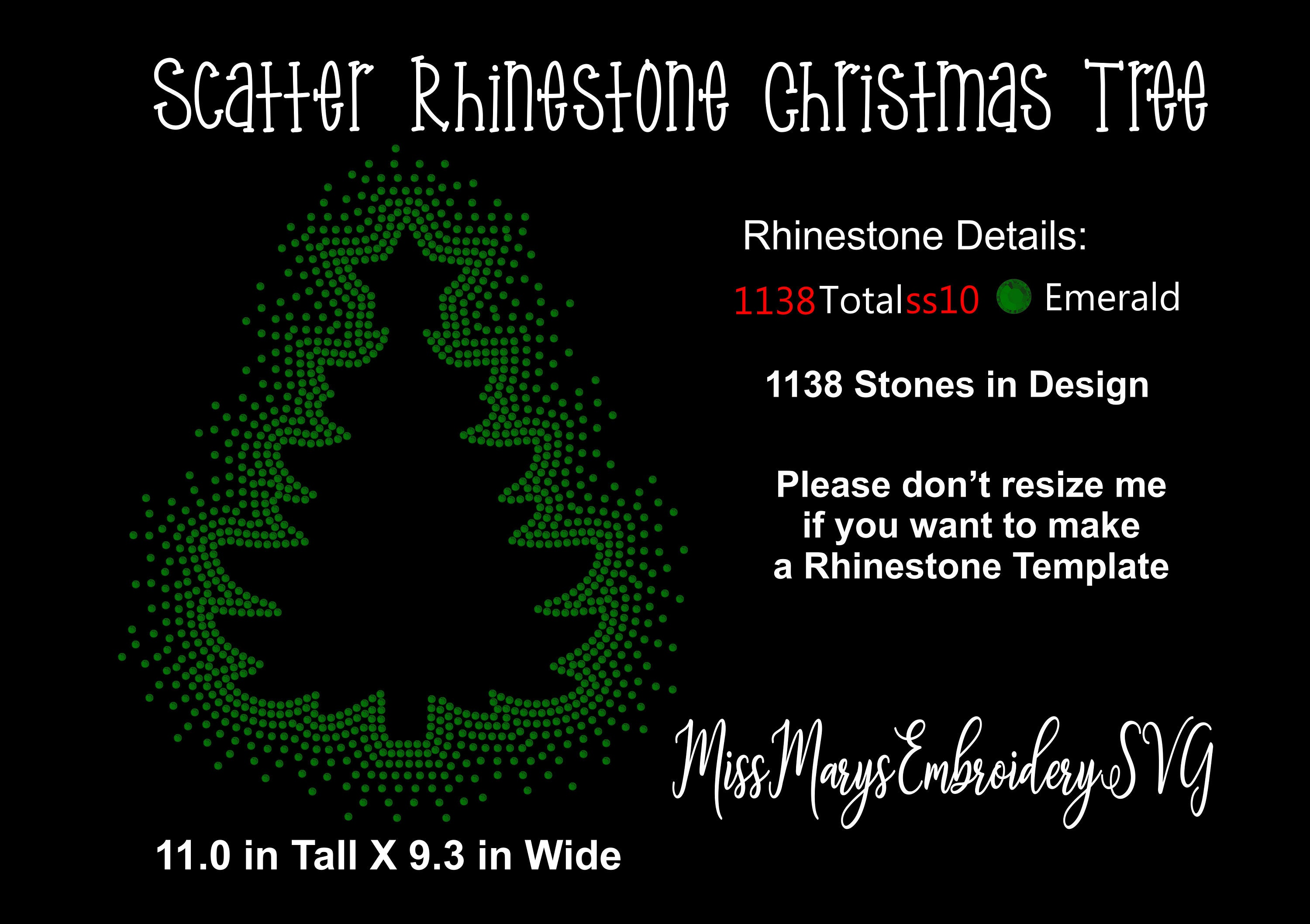 Scatter Rhinestone Christmas Tree Template Design Svg Png Dxf Etsy