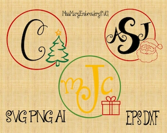 SVG Christmas Simple Monogram File Cutting File DXF, AI Commercial Personal Use
