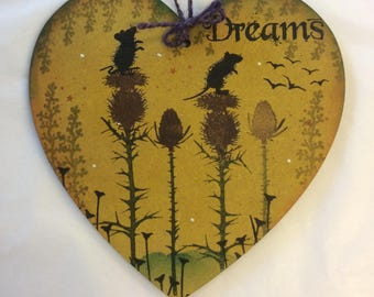 Woodland field mice MDF heart.