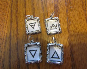 Four Elements Picture Frame Charm Pendants Earth, Air, Fire, Water #93