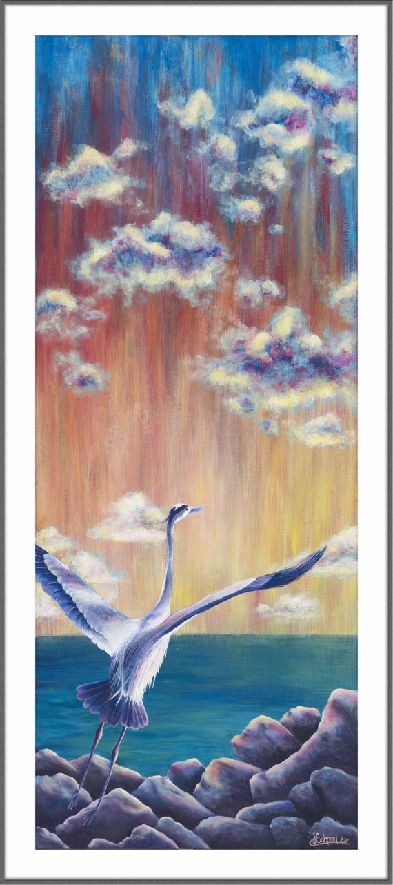 Art prints and painting of great blue heron bird - 'Great Blue Freedom 2' by artist Jennifer Cohoon