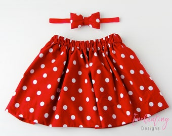 Minnie Mouse Skirt, Polkadot Skirt, Cotton Skirt, Red Skirt, Baby Skirt, Toddler Skirt, Skirt Set, Baby Girl Skirt, Girl's Red Skirt Set