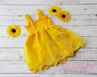 Girl's Yellow Dress, Girls Fairy Dress, Toddler Yellow Dress, Kids Fairy Costume, Baby Yellow Dress, Baby Fairy Costume, Yellow Fairy Dress