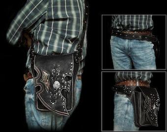 Pirate Swashbuckler Gothic Leather Biker  Bag / K05D10
