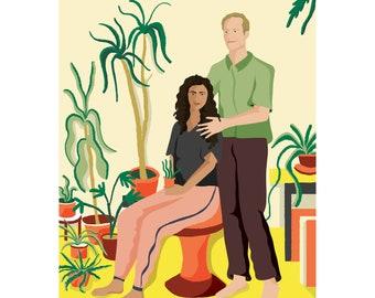 Couples Portrait Gift-Couples Portrait-Couples Portrait Drawing-Couples Portrait Illustration-portrait seated among plants, stylish life