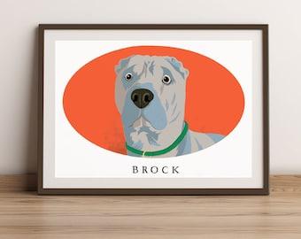 Pet Portrait Print-Pet Portrait Drawing-Pet Portrait Custom-Pet Portrait-Colourful Custom illustrated pet portrait-digital or print options