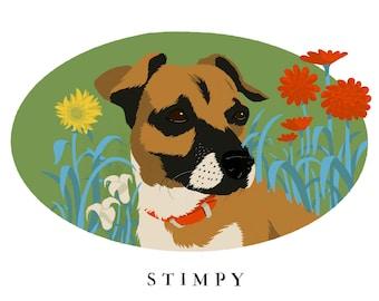 Dog or Cat Floral Background-Pet Portrait Custom-Pet Portrait-Pet Portrait Print-Pet Portrait Drawing-Custom illustrated pet portrait