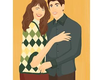 custom digital  portrait-custom couple portrait-custom couple illustration-digital drawings & illustration- 8x11 commissioned portrait