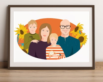 custom illustrated family portrait with floral background, birthday gift, anniversary gift, unique and fun portrait