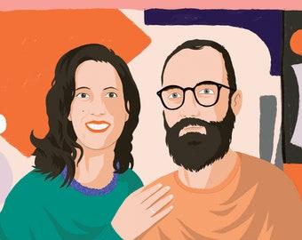 Custom couples portrait - dreamy fresh colours and patterns, A4 digital portrait, couples illustration, custom family portrait