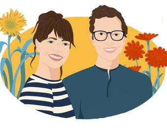 Custom Floral Background-Couples Portrait Drawing-Couples Portrait Illustration-Couples Portrait Gift-Couples Portrait-Digital & Print