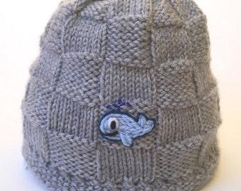 08e0e6cf229bd Baby Whale Hat Knit in Basketweave Pattern