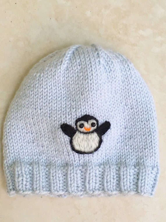 7a080f4d906 Newborn Baby Penguin Hat Knit Baby Hat With Embroidered