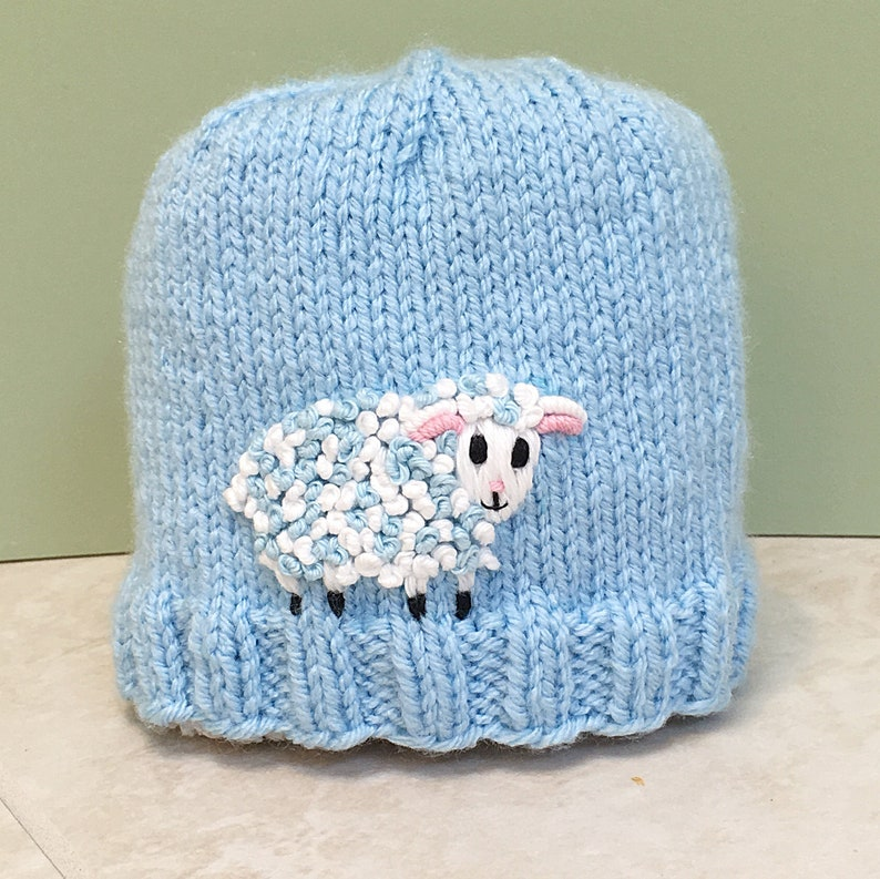 87c411e581c Newborn Baby Boy Blue Hat with Embroidered Sheep Custom Knit