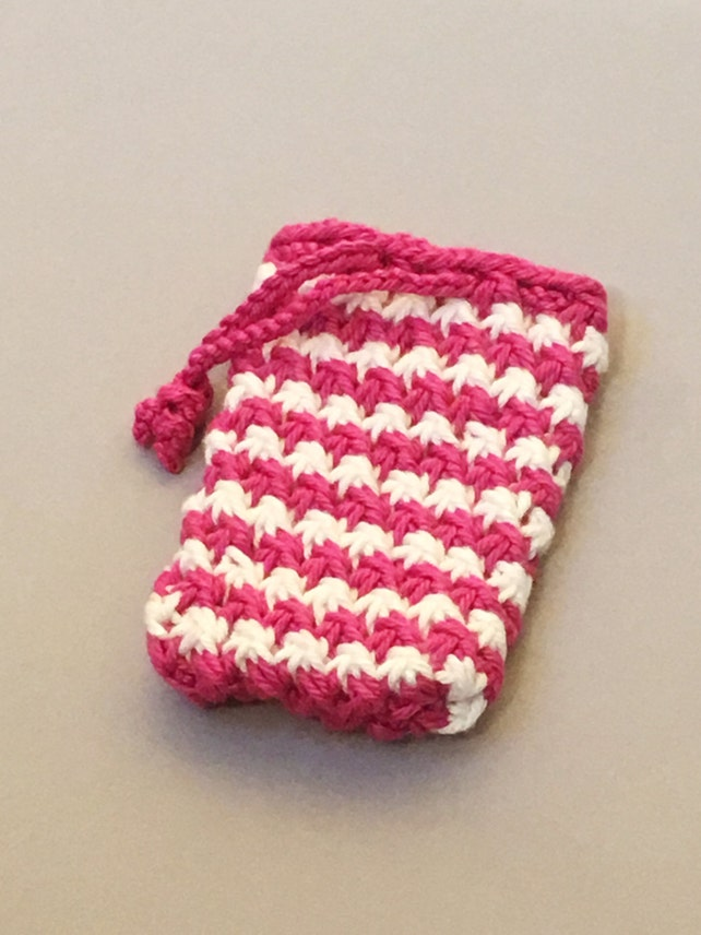 Pink And White Knit Soap Saver Bag Etsy
