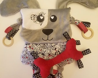 Puppy dog teether lovie baby blanket