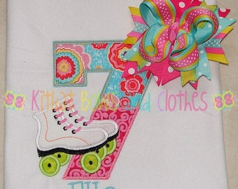ON SALE Roller Skate Birthday Embroidered Shirt and Matching Hairbow - Skating Party