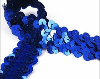 Royal blue elastic sequin trim. 22mm. JR03302