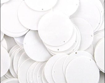 250 Glossy white sequin discs. 24mm. JR02822