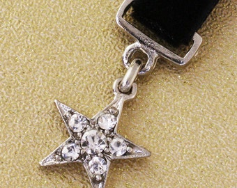 Mini Star Medal. Silver/Crystal. 15mm x 30mm. JR08572