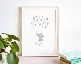 Elephant Fingerprint Guest Book Baby Shower Print | Gender Neutral