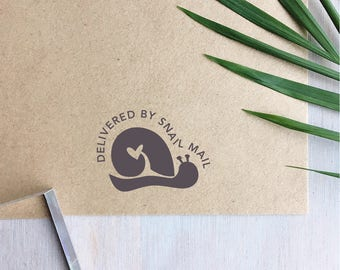Delivered by Snail Mail Stamp   Packaging Stamps - Happy Mail - Snail Stamp - Happy Mail