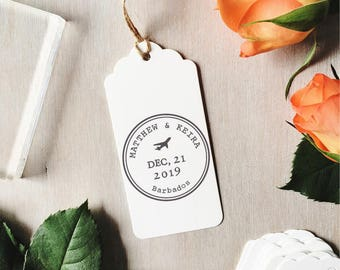 Destination Wedding Stamp | Custom Wedding Stamp - Save The Date - Wedding Abroad - Passport Stamp - Beach Wedding