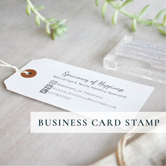 Kundenspezifische Visitenkarte Stempel Hand Gestempelt Logo Und Social Media Stempel
