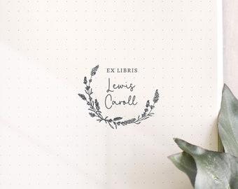 Lavender Wreath Custom Ex Libris Book Stamp