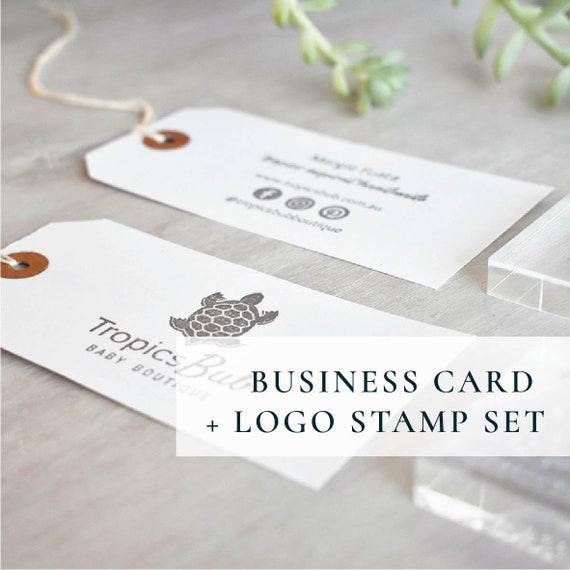 Doppelte Visitenkarten Stempel Set Individuelles Logo Stempel Und Social Media Details