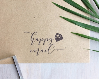Happy Mail Stamp | Envelope - Mailing Stamp- Business Stamp - # Happymail - Custom Stamp
