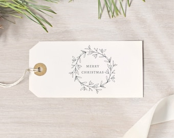 Merry Christmas Wreath Stamp