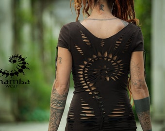 Braided Spiral short sleeved top-hand made,open,shredded,cuts,festivals,performances,burning man,boho,hippie,tribal,psy trance,goa,acro yoga