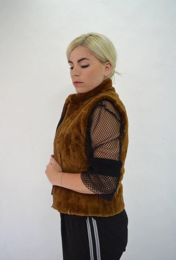 fur fur sheared fur genuine vest closure vest mink fur mink coat sheared mink copper brown mink zip golden vest with tan Real mink t7wU5x