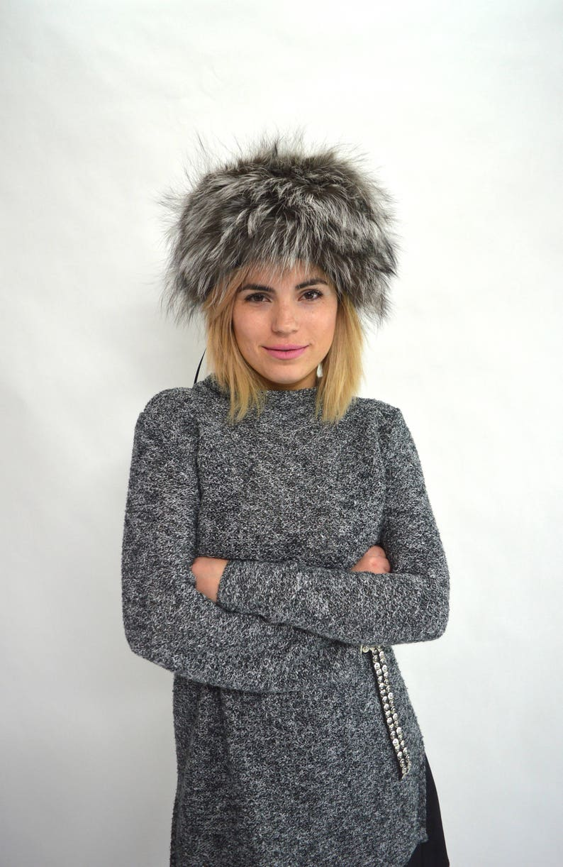 Real fur hat black fox fur hat winter fur cap blue fox fur  4f47baff191