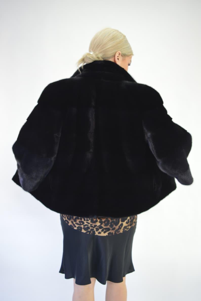 7fb037fc7d0 Manteau veste à col de fourrure vison noir fourrure poussette