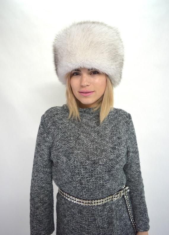 Real fur hat Blue fox Russian style fur hat winter fur cap  7375c947c9d
