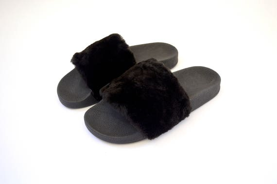 rubber black slippons real Real Fur fur fur fur flip fur Slides shoes beaver fur pool fluffy slippers sliders flop pelt Fur genuine xnwxWEt