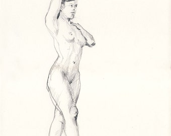 female pencil sketches nude Sitting