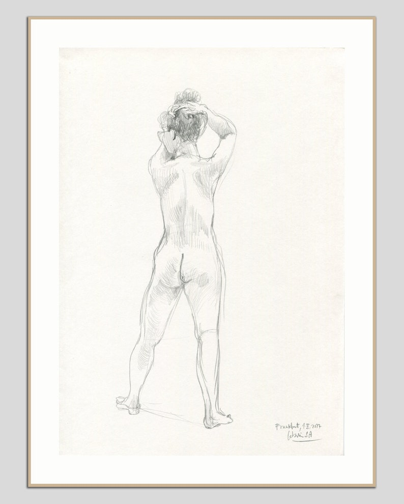 Deetsy Dibujo Mujer Desnuda Lápiz Original De9ih2